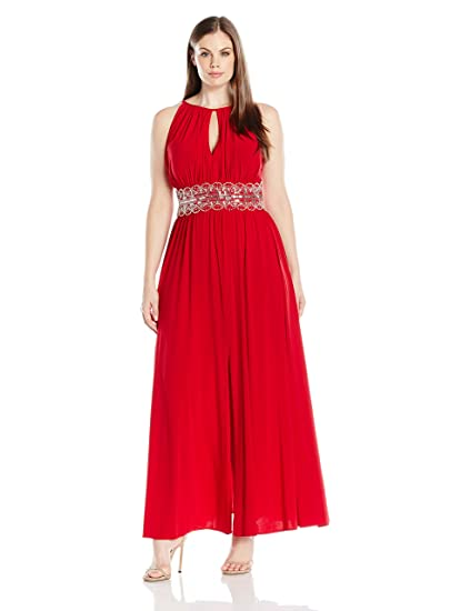 Rm Richards Womens Plus Size Beaded Waist Halter Evening Gown At