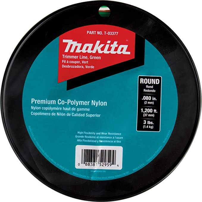 "Makita T-03377 Round Trimmer Line, 0.080"", Green, 1,200, 3 lbs"