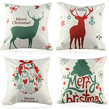 Coogam Christmas Pillow Case Set of 4 Cotton Linen Burlap Square Throw Pillow Cover Protector for Sofa Bench Couch Car Seat Bed Pillowcase Holiday ...