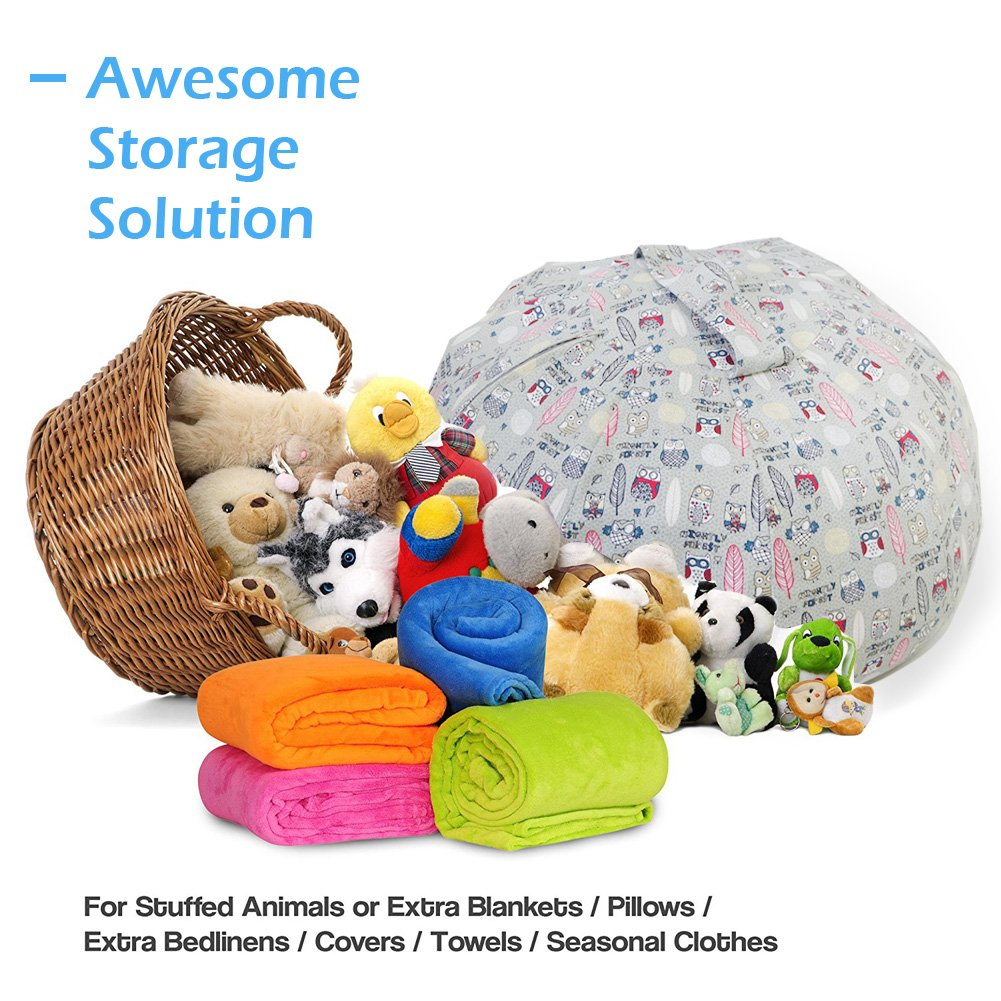 Stuffed Animal Storage Bean Bag Chair - Large Size 30 inch Cotton Canvas Children's Plush Toy Organizer Storage Bag (Gray) by Childmate (Image #7)