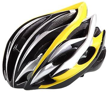 Acme Bicicleta de carretera de Carreras de bicicleta Ciclismo casco visera ajustable carbono, Yellow-