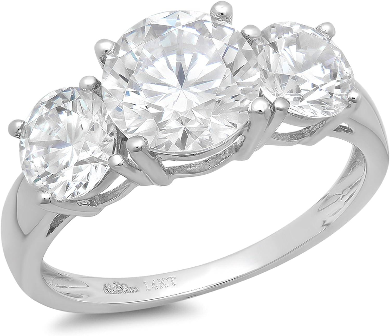 3.45 Ct Round Cut White Moissanite Halo Engagement Ring Set 14K White Gold