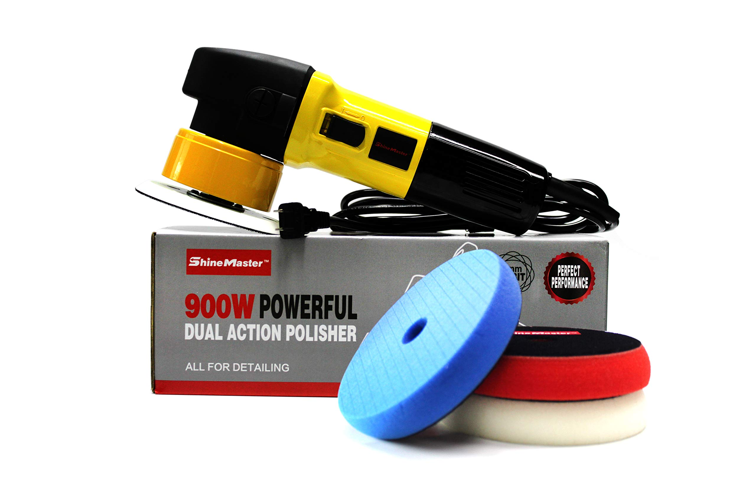 Maxshine M8S Dual Action/DA Polisher with Foam Pads Kit: 900W, Orbit Diameter Size: 8mm (Yellow) by Maxshine
