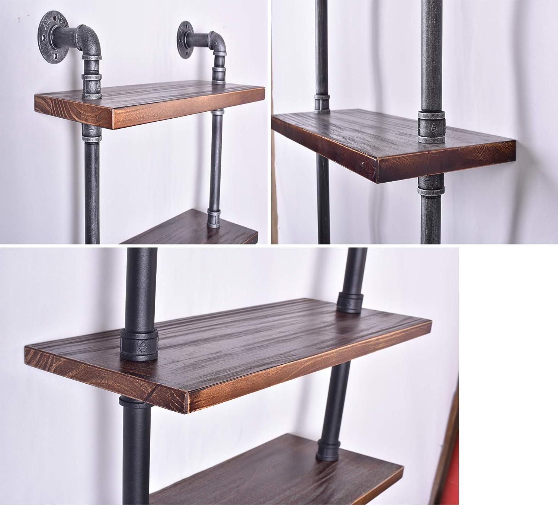 Diwhy Industrial Rustic Modern Wood Ladder Pipe Wall Shelf 6 Layer Pipe Design Bookshelf DIY Shelving QUANZHOU AUTO FURNITURE CO LTD