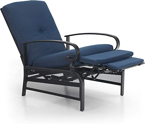 PHIVILLA Adjustable Patio Recliner Chair Metal Outdoor Lounge Chair with Removable Cushions Support 300lbs, Navy