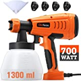 Dicfeos Paint Sprayer, 700W High Power HVLP Home Spray Gun with 1300ml Container, 4 Nozzle Sizes for Fence, Cabinet and…