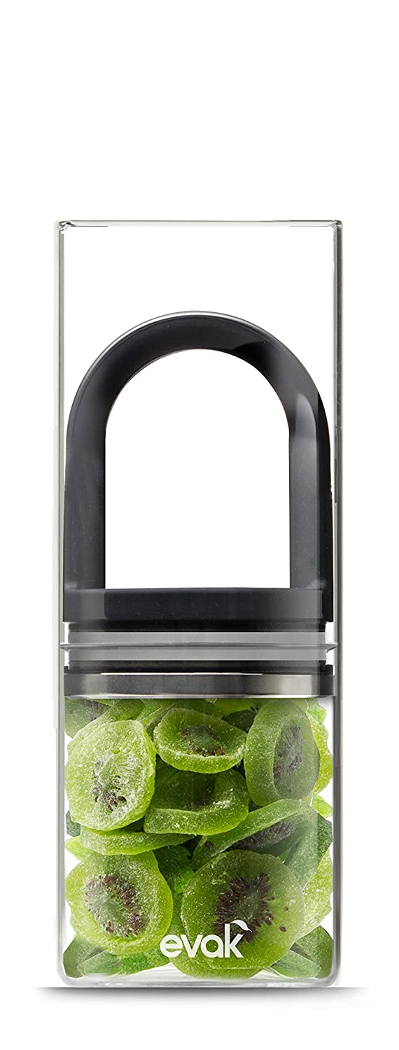 Evak Fresh Saver Airless Canister, Glass & Stainless, Black Gloss handle, Large