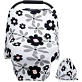 Baby Car Seat Covers for Girls with Pouch Versatile Stretchy Floral Babies Car Seat Protector Infant Stroller Canopy Nursing Covers for Travel Breastfeeding Covers Shopping Cart Cover for Girls