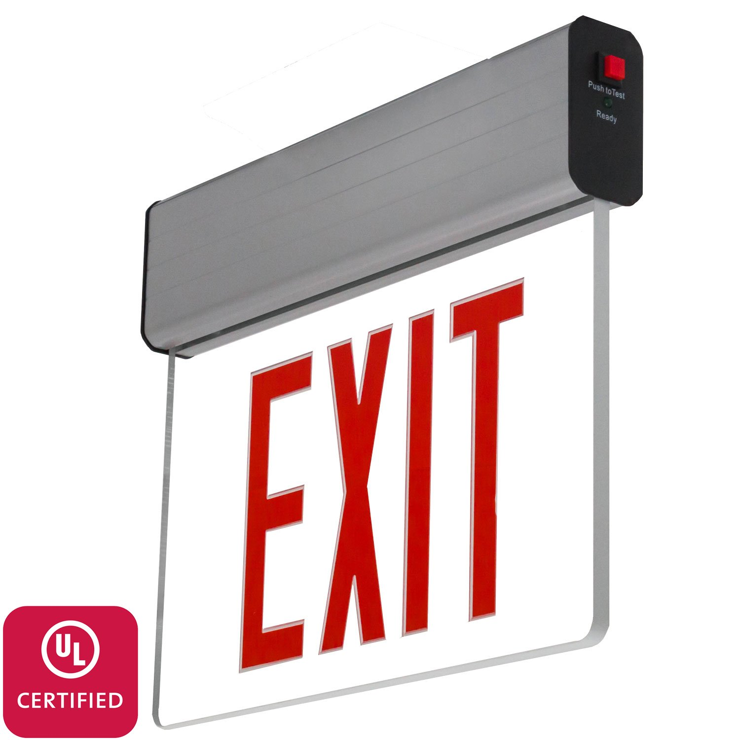 LFI Lights - UL Certified - Hardwired Red LED Edge Lit Exit Sign Light - Surface Mount Battery Backup - ELSMR