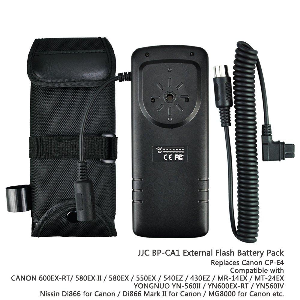 JJC Rapid Flash Fire Recycling External Flash Battery Pack for Speedlite Canon 600EX II-RT,580EX II,550EX,540EZ,430EZ, Yongnuo YN600EX-RT,YN560IV II, Nissin MG8000 Di866 Mark II for Canon as CP-E4N