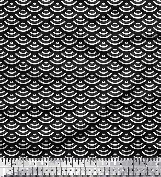 Soimoi Negro batista de algodon Tela escamas geometrico estampada de tela por metro 56 Pulgadas de ancho: Amazon.es: Hogar