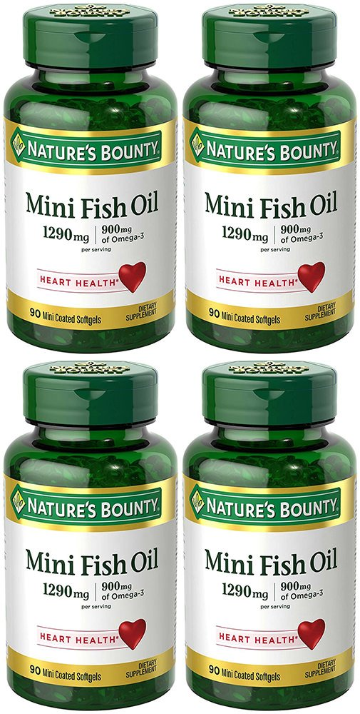 Fish Oil 1290 mg, Mini Odorless Softgels, 4 Bottles (90 Count)