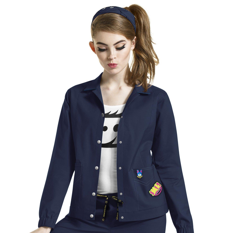 WonderWink I Love Women's Denim Style Solid Scrub Jacket Xx-Large Navy