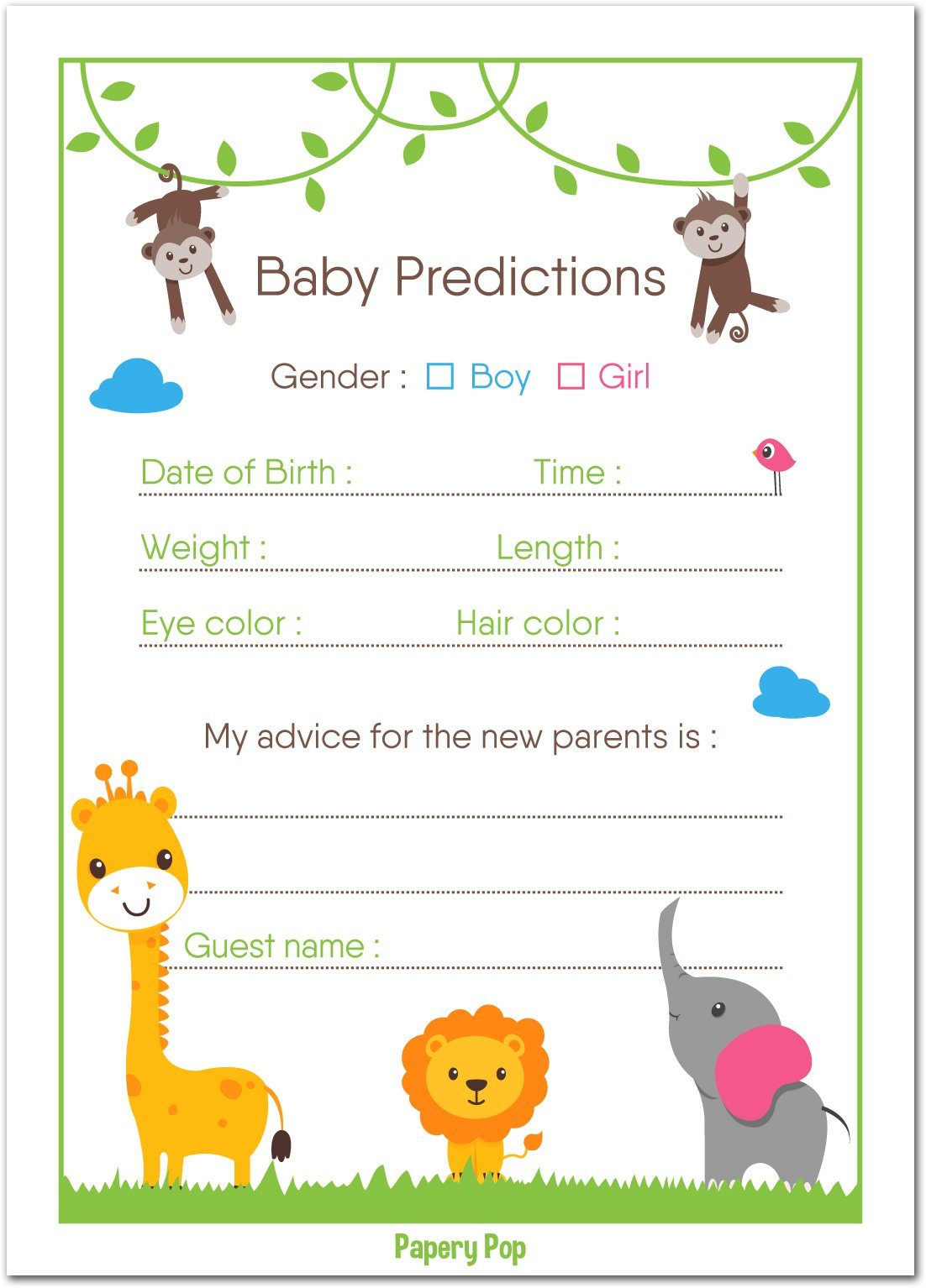 30 Baby Shower Prediction and Advice Cards, Boy or Girl - Baby Shower Games Decorations Activities Supplies Invitations - Safari Jungle Zoo Animals