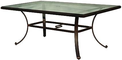 Amazoncom Darlee Cast Aluminum Glass Top Rectangular Dining Table - Rectangular glass top patio dining table