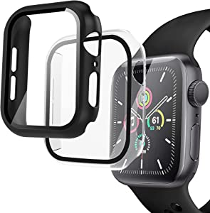 Arae Compatible for Apple Watch Series 6 5 4 SE 44mm Cases Full all around and overall Protection with Tempered Glass Screen Protector for Men Women-2 Packs Black+Clear