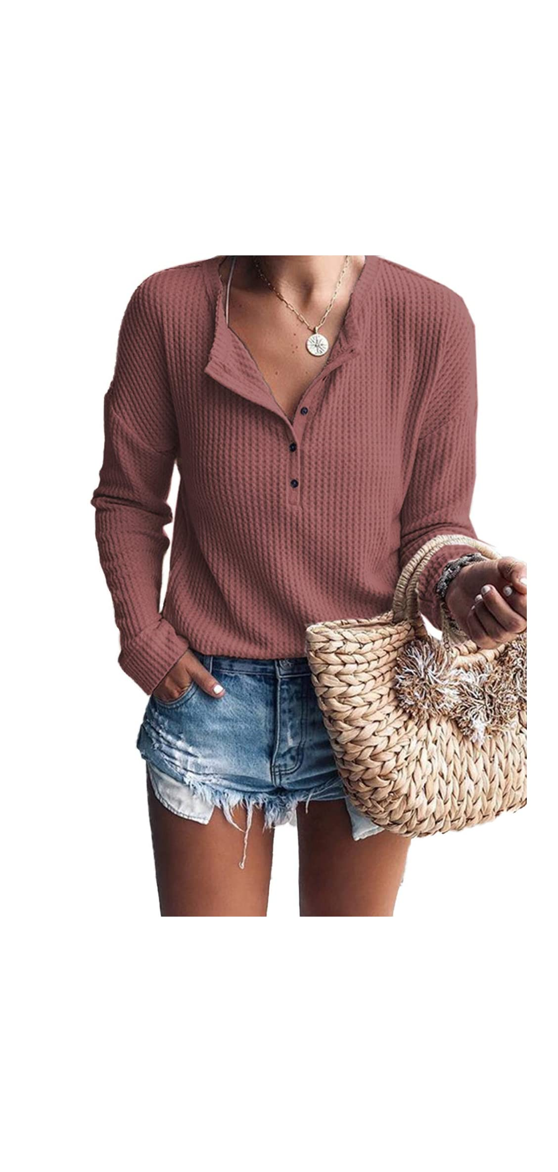 Women's Waffle Knit Tunic Tops Loose Long Sleeve Button
