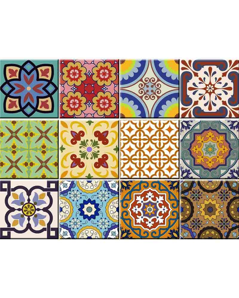 Tile Stickers 24 PC Set Traditional Talavera Tiles Stickers Bathroom & Kitchen Tile Decals Easy to Apply Just Peel & Stick Home Decor 6x6 Inch (Kitchen Tiles Stickers C1) by Alma-Art (Image #1)
