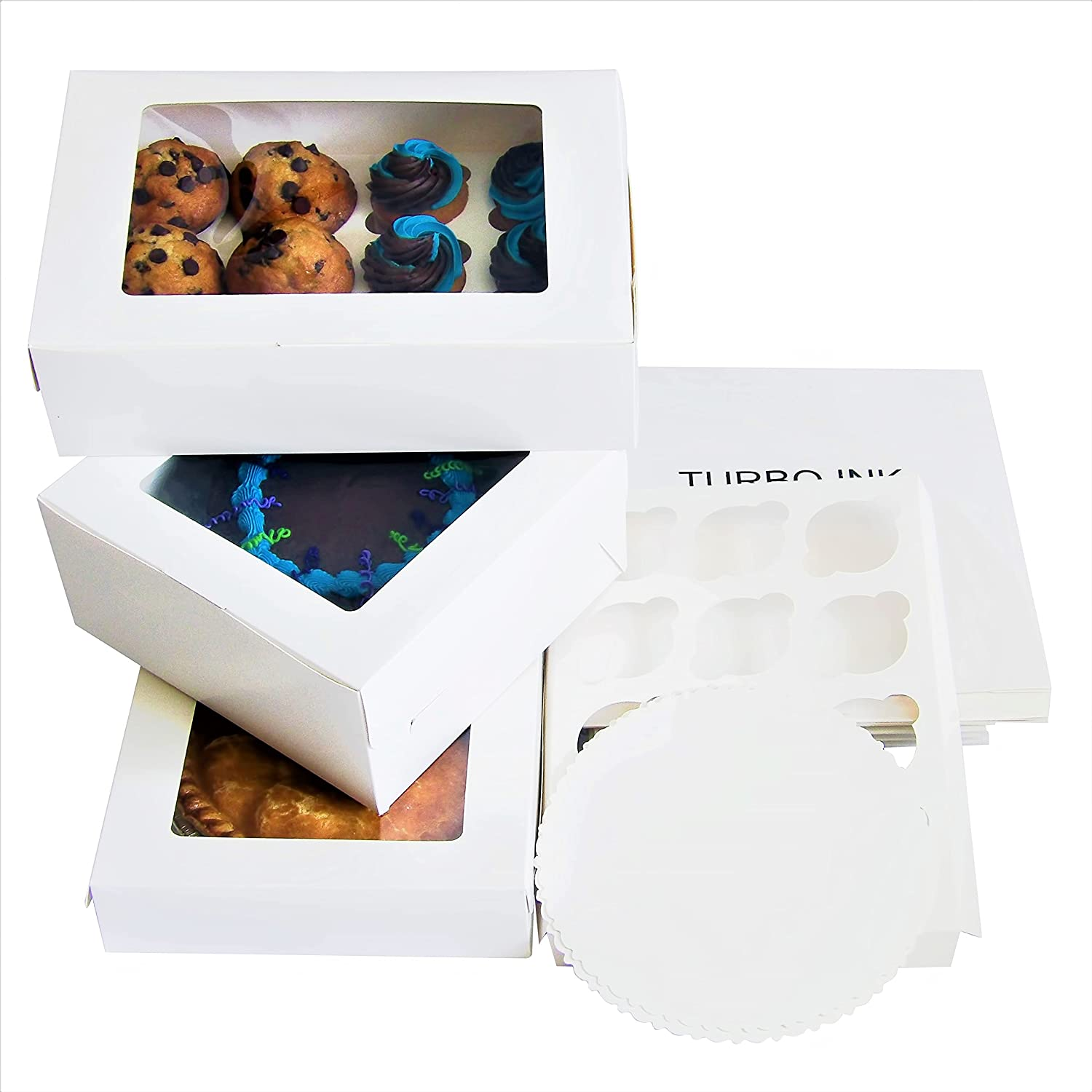 White Bakery Take out containers Clear Window Extra Thick Food Grade Material Disposable Recyclable , Assorted sizes Pack of 15 pieces { 12 cavity Cupcake Boxes 13x10x4, Cake Boxes10x10x5, Pie Boxes 10x10x2.5, round cake board and cupcake inserts } Mess Free Packaging Transporting Cupcakes, Cakes, Pies, Cookies, Muffins, Brownies, Desserts, Treats ,Gifts