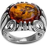 Sterling Silver Amber Fusion Oval Shaped Ring