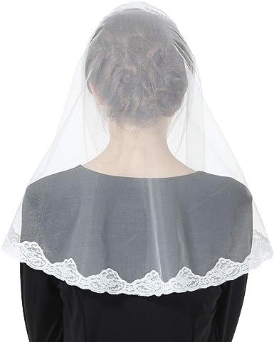Mantilla De Encaje Española Mujer Capilla Velo Pañuelo de Iglesia Católica Bordado Chal Bufanda Negra Blanca V110: Amazon.es: Ropa y accesorios