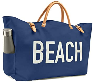 0862228e8 Amazon.com: KEHO Large Canvas Beach Bag Travel Tote (Blue), Waterproof  Lining, 2 Drink Holders, Pockets, FREE Phone Case: Keho