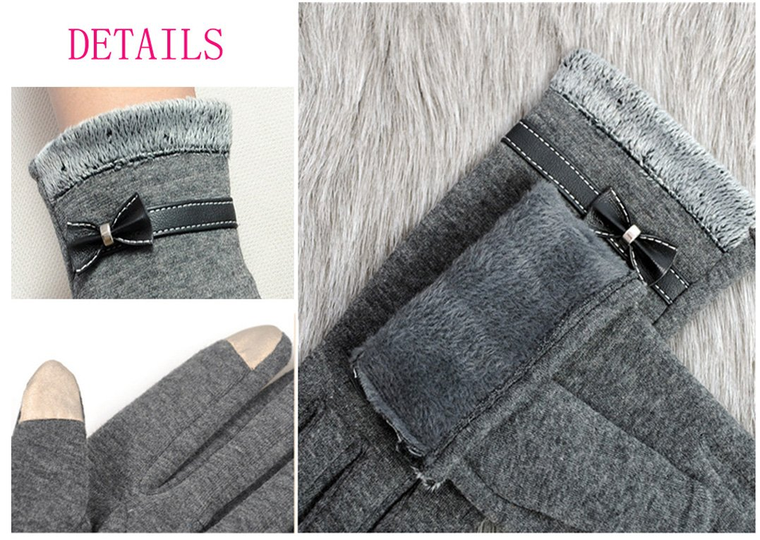 Women's Winter Gloves Touchscreen Texting Glove Fleece Lining Show Thin Black,,One Size by Kitten Fashion (Image #4)