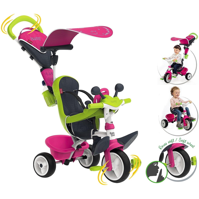 0618 Dreirad für Kinder ab 10 Monaten, mit Sonnendach, Flüsterrädern, Tasche • Kinderdreirad Kinderfahrzeug Flüsterräder Schubstange Baby