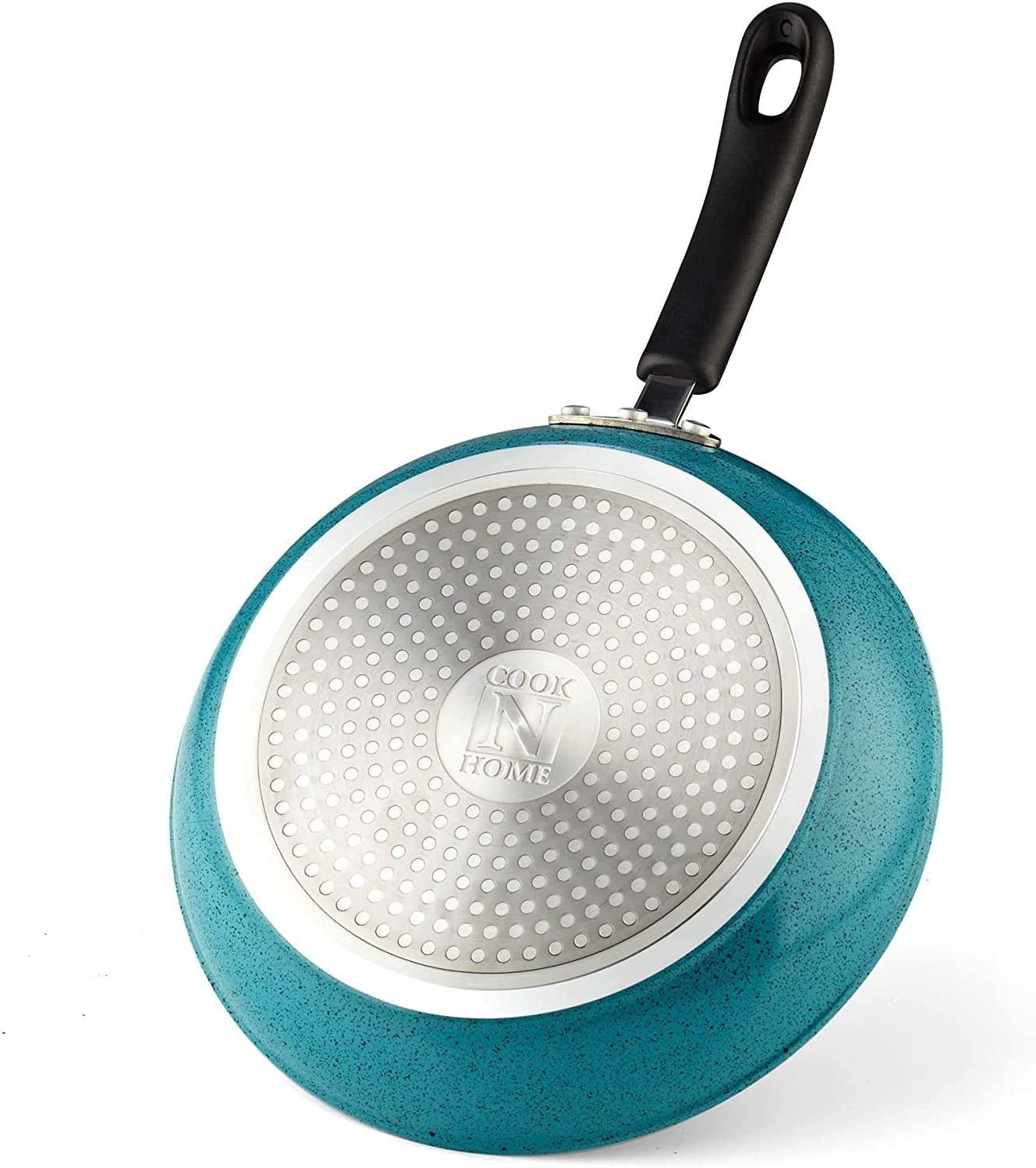 Cook N Home 9.5-Inch Saute Skillet with Nonstick Coating, Induction Compatible, Turquoise (02620)