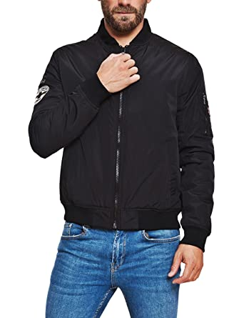 Lonsdale Herren Jacke Black Bomber Air Force (Schwarz, L)