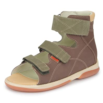 d958ef1ab Memo Shoes Helios Corrective Orthopedic Leather Boys Sandal, Brown, 32 (1  US Little