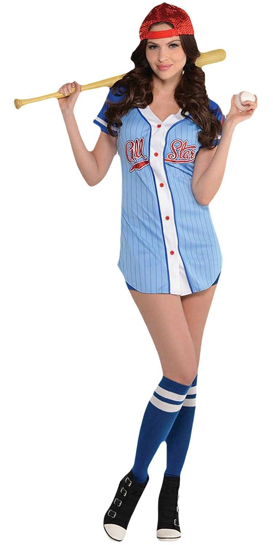 Zauberclown Damen Baseball Babe Karneval Komplett Kostüm, Hellblau, Größe S/M