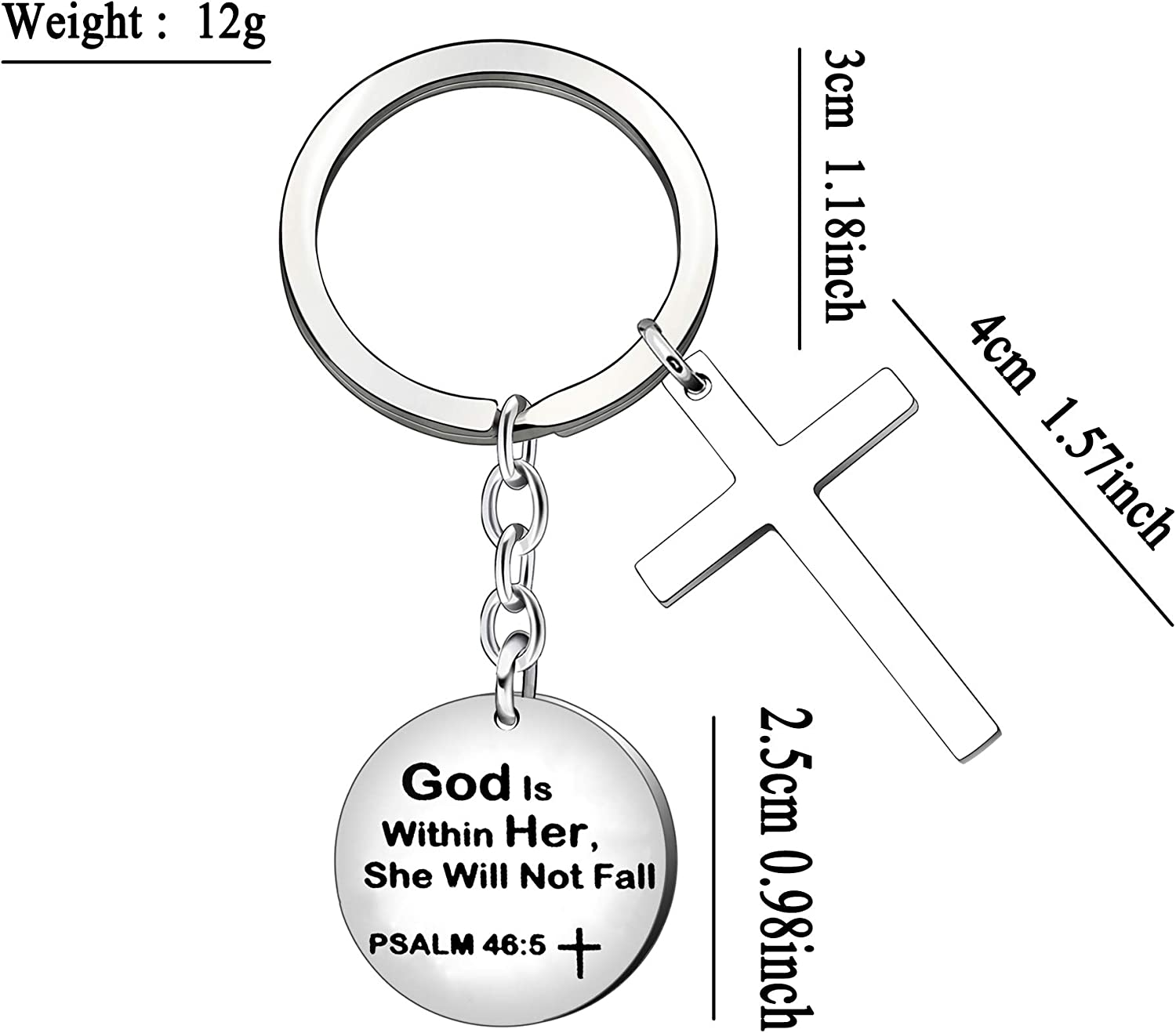 CAROMAY Inspiration Keychain Rings Cross Key Chain Bible Baptism Gift Prayer Keyring God is Within Her She Will Not Fall