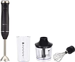 AmazonBasics Multi-Speed Immersion Hand Blender with Attachments, Black