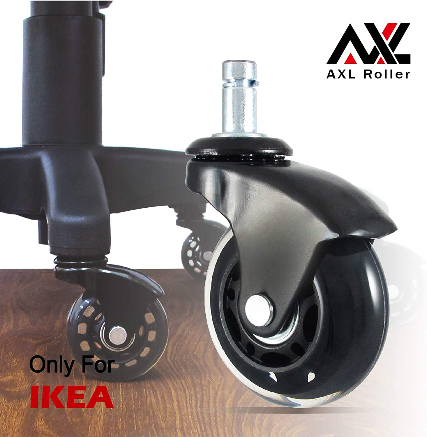 AXL 2.5 inch Office Chair Caster Wheel Replacement for Roller Blade Wheels Heavy Duty Casters for Hardwood Floors Safe (IKEA 10mm) (2.5 inch Black, Black/Clear)