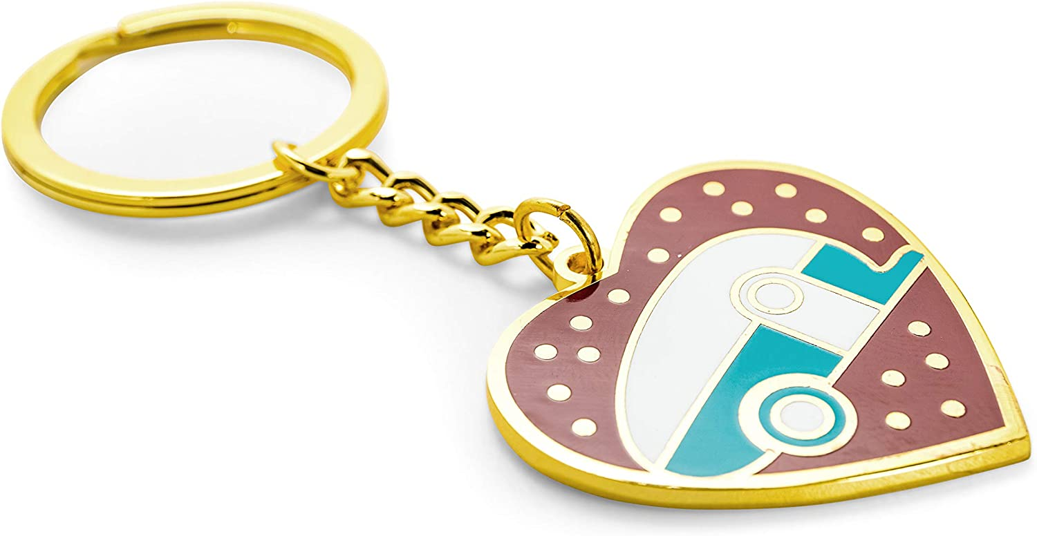 53288 Camco Life is Better at The Campsite Navy Blue RV Heart Keychain-Gold Ring for Car Fobs and Keys