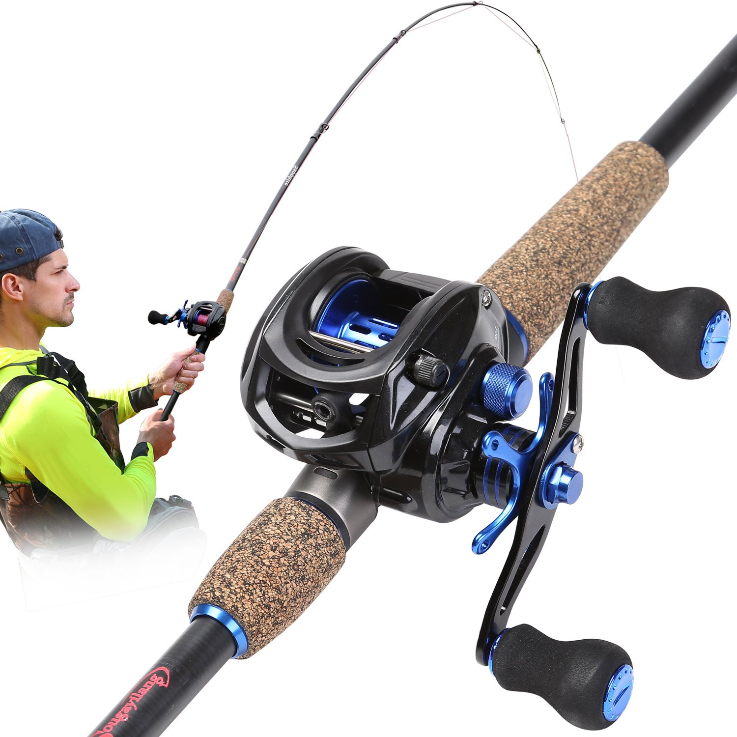 Sougayilang Baitcasting Fishing Rod with Reel Combo