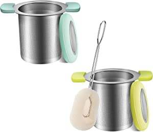 COSYLAND Tea Infuser with Brush Anti-Scald Lid 18/8 Stainless Steel Tea Strainer Large Capacity Tea Filters Food-Safe Loose Tea Infuser Brewing Basket Mesh Strainer Pack of 2