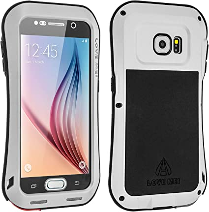LOVE MEI - Coque protectrice Integrale Powerfull Metal Militaire Gorilla Glass Protect Samsung Galaxy S6 - Argent