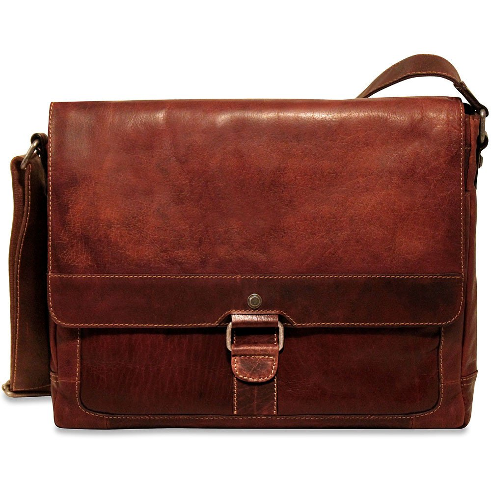 Jack Georges Mens Voyager Slim Messenger Bag in Brown