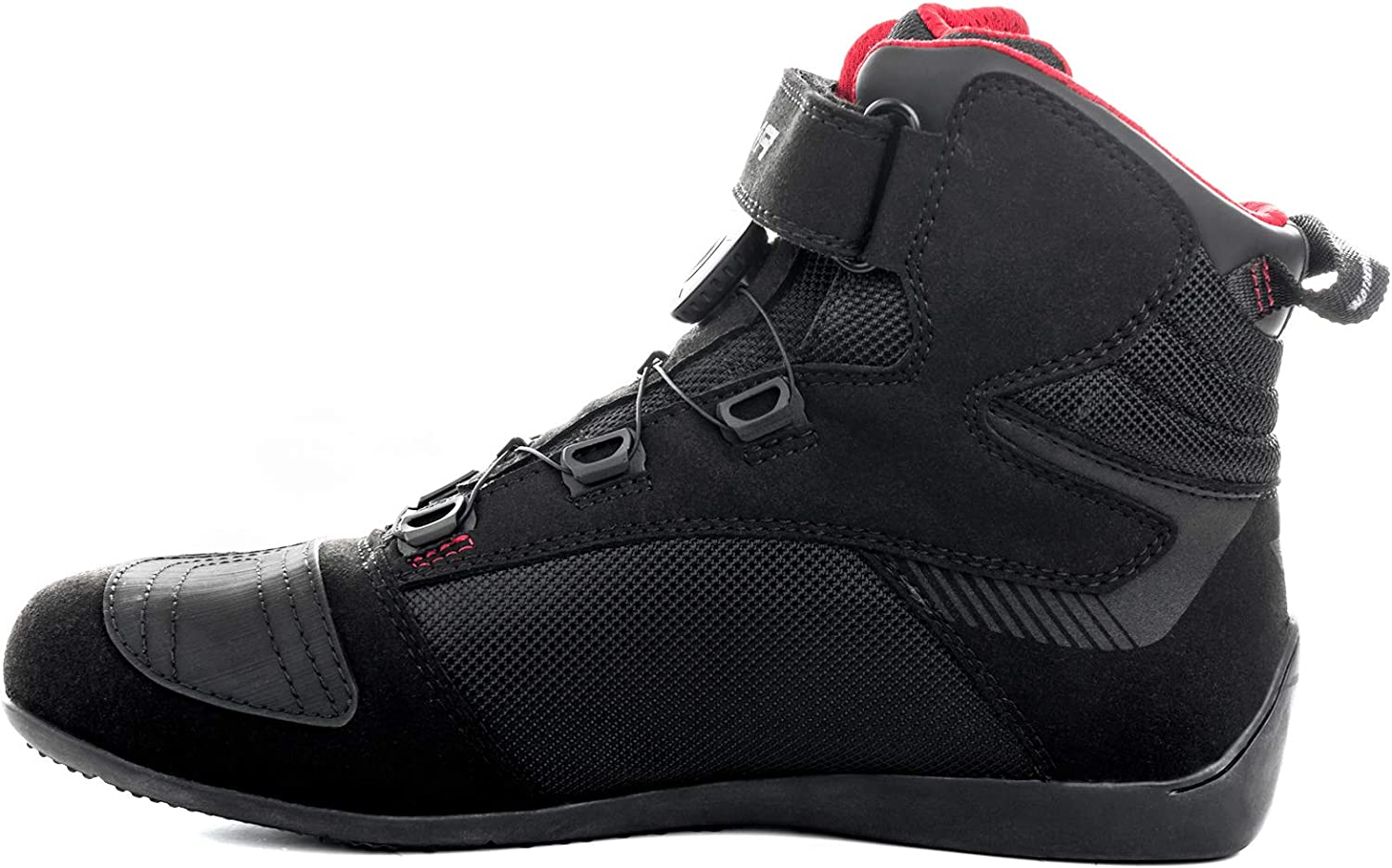 Black, 44 SHIMA EXO MEN BLACK Summer Ventilated Mesh Motorcycle Boots with ATOP Lacing System