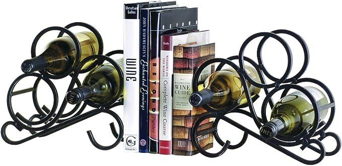 Bookend Wine Rack – Durable Black Iron, Bottle Storage