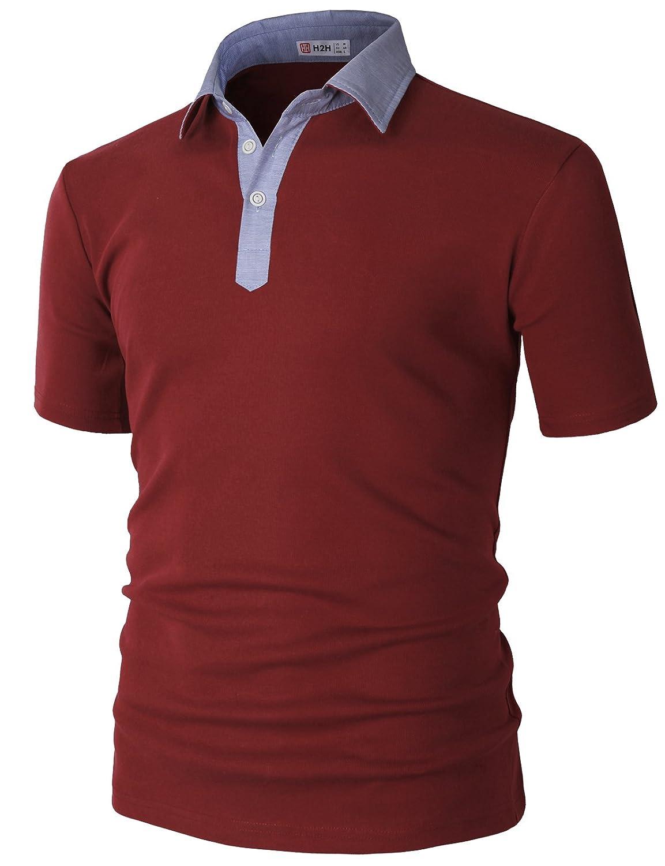 【H2H】 メンズ カジュアル ゴルフウェアー ファッション ベーシック 無地 スリームフィット ワンポイント 半袖 ポロシャツ B07CHD4JHH Large|Kmtts0562-wine Kmtts0562-wine Large