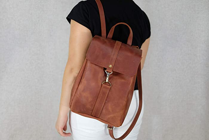 747bb63e8bc Women leather backpack, Brown backpack, Women shoulder bag, Drawstring  backpack, Minimalist leather vintage rucksack Personalized Monogram 9 x  12.6 inch