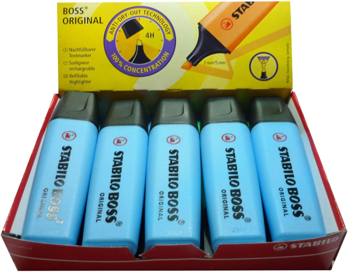 Marcador fluorescente Stabilo Boss Azul (10 unidades): Amazon.es ...