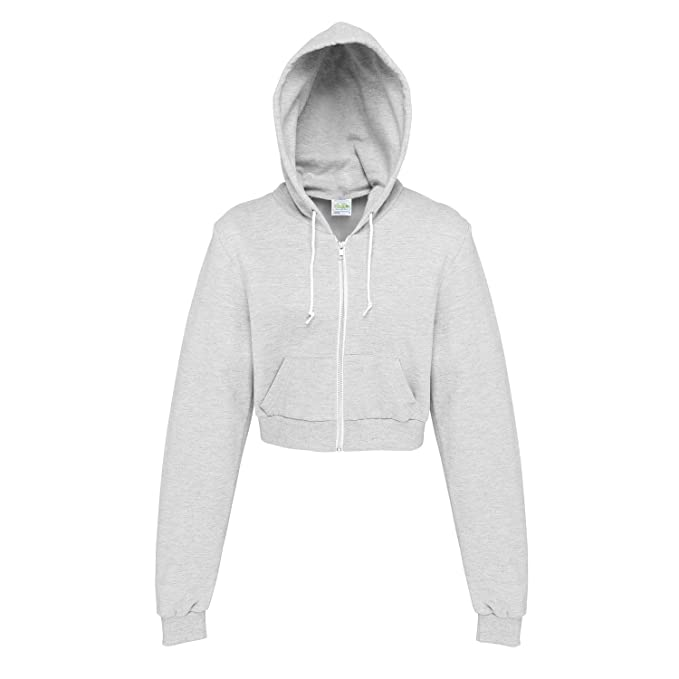 Awdis Just Hoods Womens Ladies Girlie Cropped Full Zip Hoodie Jacket (2XS) ( deb33be5c6