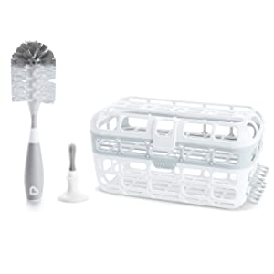 Munchkin Baby Bottle & Small Parts Cleaning Set, Includes High Capacity Dishwasher Basket & Bristle Bottle Brush, Grey