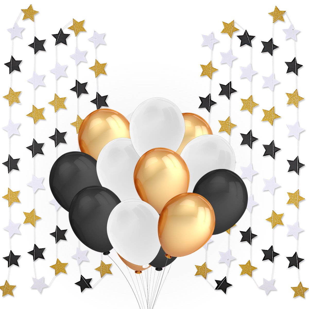 Party Supplies and Party Decorations- 100 Pcs 12 inches Latex Party Balloons and 2 Pcs Twinkle Star Garland - Perfect for All Party events, Wedding Party, Retirement Party, Baby Shower, Birthda Party