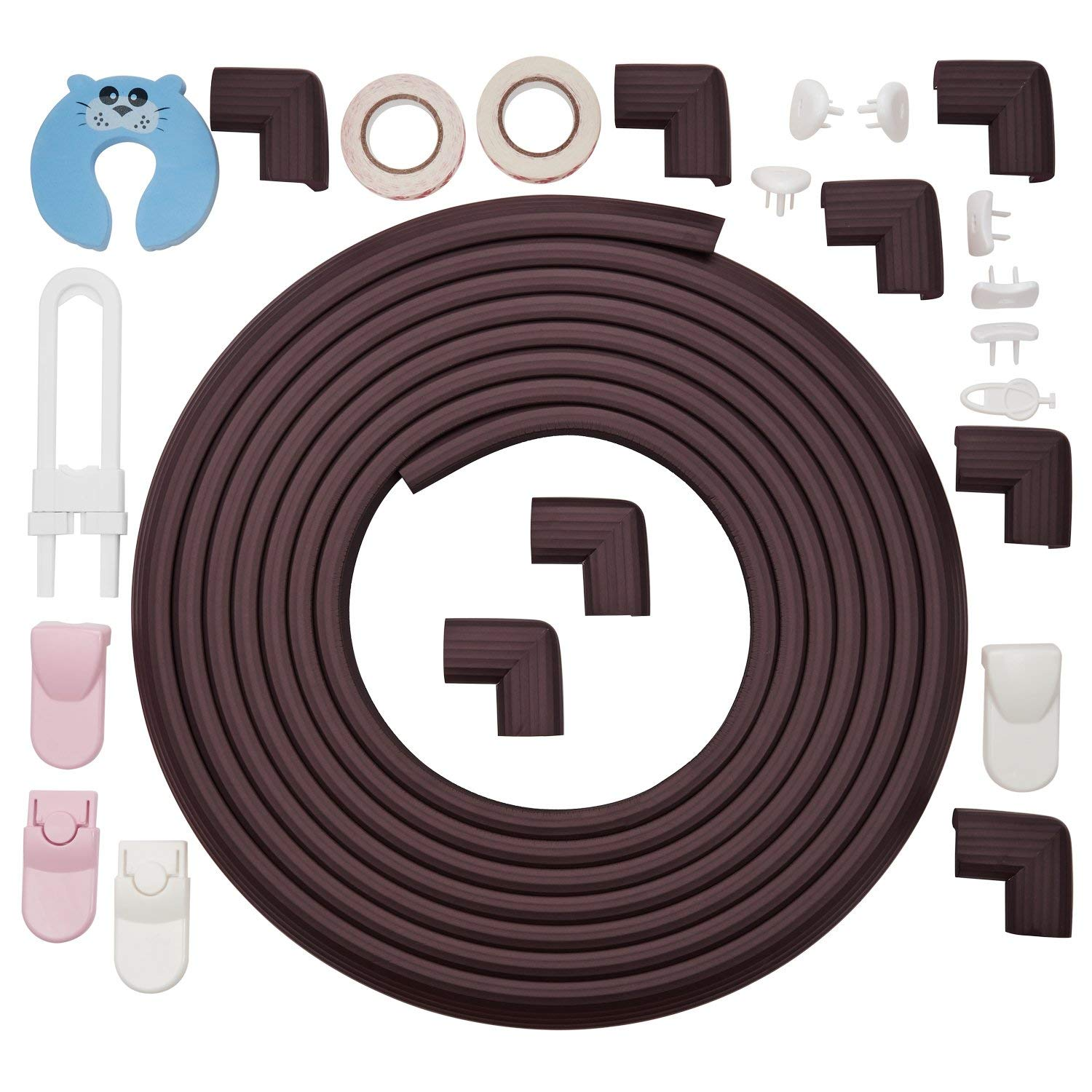 Corner Guards by Bfence Extra Large with 24ft Edge Protector, 8 corner bumpers Bonus Safety Locks, Socket Covers and Door Stopper - Babyproofing Table Edge Guards (Dark Brown)