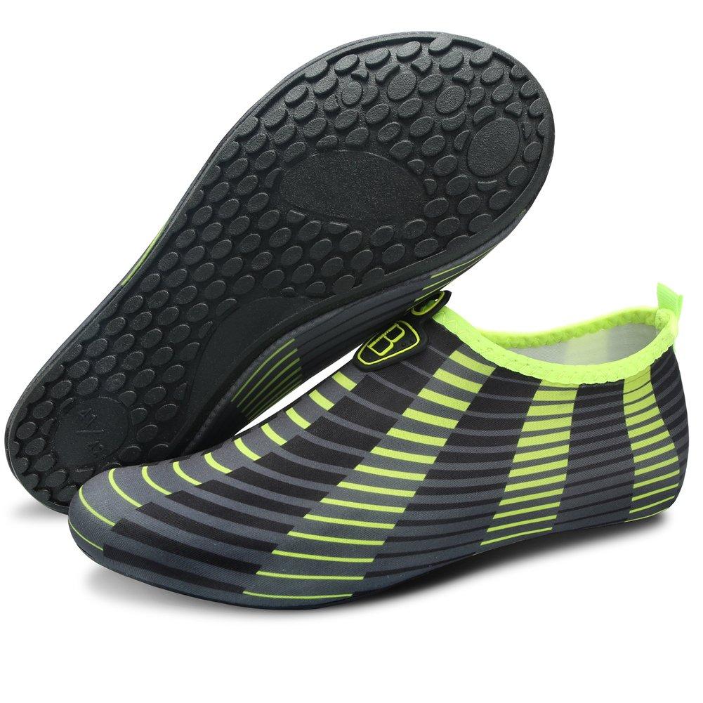 Barerun Men Women Barefoot Quick-Dry Water Sports Aqua Shoes with 15 Styles for Swim Walking Yoga Lake Beach Garden Park Driving Yellow 8-9 US Men